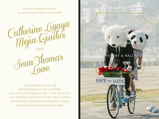 Sean and Catherine's save the date wedding invite